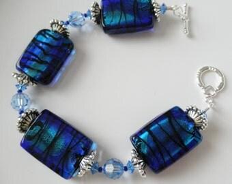 FINAL SALE Cobalt Blue Lampwork Bracelet with Swarovski Crystals in Lt Sapphire, Crystal Bracelet, Blue Bridal Bracelet, Royal Blue Bracelet