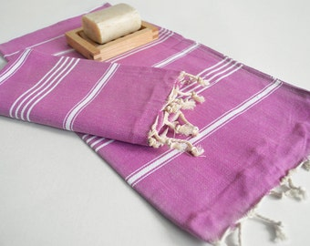 SALE 50 OFF/ SET 2 Towels /Head and Hand Towel / Classic Style / Fuchsia - White striped