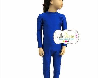 Royal-UNITARD /Child ---Mock- Neck Long Sleeve Unitard....Spandex-Nylon- (Shiny)---Colors Available great for COSTUMES/HALLOWEEN