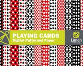 Playing Cards Digital Paper Pack, Heart Paper, Spade Paper, Diamond Paper, Club Paper, Poker Scrapbook Paper, Casino Digital Paper