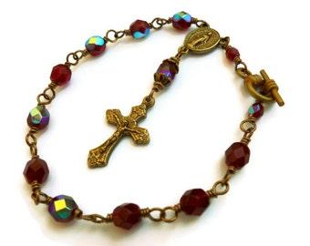Antique Brass Ruby Czech Glass Rosary Bracelet