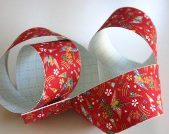 Red Origami Cranes - Japanese print cotton Fabric Sticker/Tape (1 tape = 5 cm x 1m)