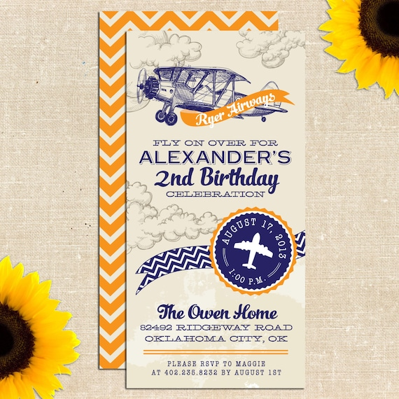 Items Similar To Airplane Birthday Invitation: Items Similar To Vintage Airplane Birthday Party