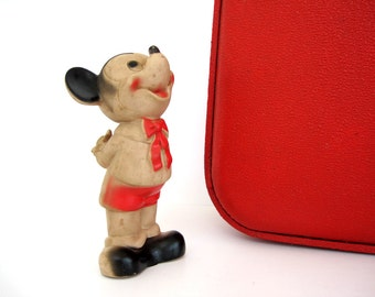 Vintage Mickey Mouse Squeeze Toy 6 inch Dell Standing Flowers Hands Behind Back