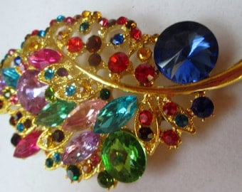Vintage Brooch Pin,  Multi-color Blue pin and Green Crystals, new old stock,  vintage jewelry