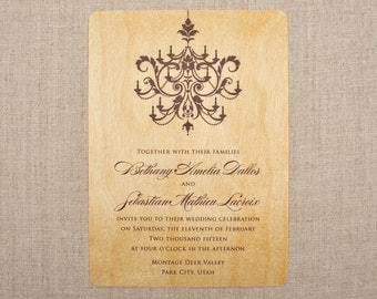 Real Wood Wedding Invitations - Chandelier