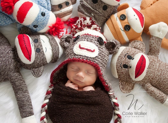 Newborn SOCK MONKEY Set