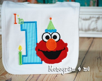 Elmo 1st Birthday Bib, First Birthday, Personalized, Sesame Street applique bib