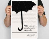 """Literary Art Print, """"J D Salinger """" Large Wall Art Posters, Literary Quote Poster, Illustration, Minimalist Prints, Bookish Gift for Writer"""