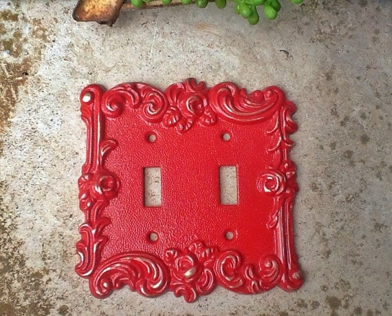 Red Country Wall Decor : Items similar to distressed metal wall decor double light