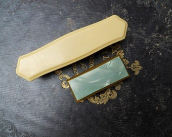 Two French Ivory Celluloid Deco Vintage Dressing Table Brushes