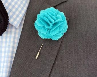 Turquoise mens boutonniere, lapel pin, groomsmen boutonniere, mens lapel flower,