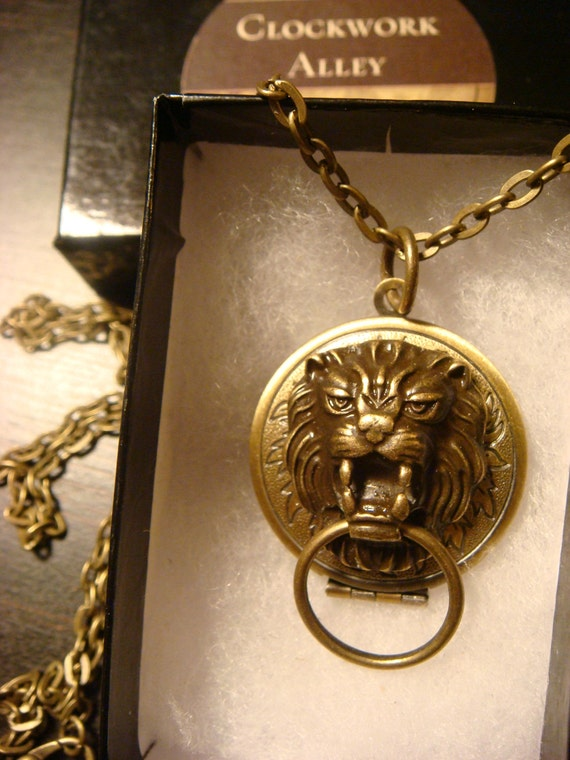 Antique Bronze Lion Head Door Knocker Steampunk Locket