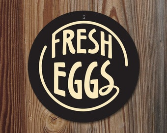 "Fresh Eggs - 9"" Round (black) SKU: SR9027"