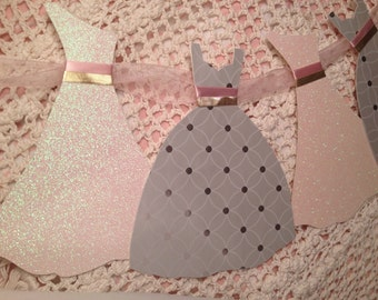 Wedding Dress Garland Paper Bridal Shower Decoration with Sheer Pink Ribbon, pink and gold