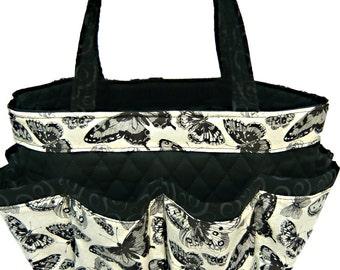 Black Butterfly Bingo Bag // Craft Organizer // Makeup Organizer // Caddy // Teacher Tote // Nurse Tote