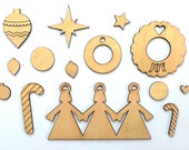 Christmas Wood Craft Shapes, Wreaths & Baubles Festive Wood Veneer Shapes, Christmas Embellishments, Christmas Scrapbook, Winter Wood Shapes