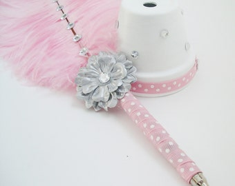 Feather Pen, Large Pink Ostrich Feather Pen with Rhinestones /Pink & White Polka Dots Pen / Guest Book Pen / Wedding Reception Accessories