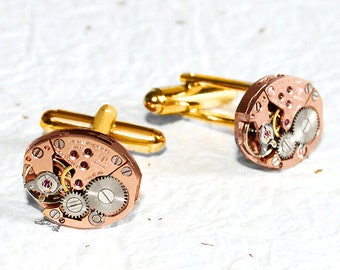 TISSOT Men Steampunk Cufflinks - RARE Luxury Swiss Rose Gold Vintage Watch Movement - Men Steampunk Cufflinks Cuff Links Men Wedding Gift