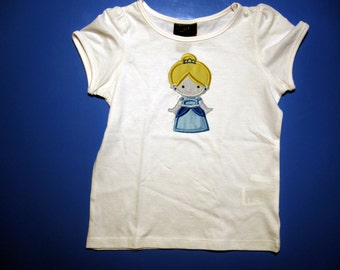Baby one piece or  toddler tshirt - Embroidery and appliqued  Princess