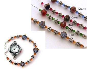 Women's  Blue Interchangeable Bracelet Watch Band: Faberge Blue Lampwork Interchangeable Beaded Watch Band, Medical ID Bracelet