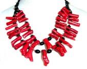 Massive Red Coral Necklace Multi Strand Black Copper Rhinestones