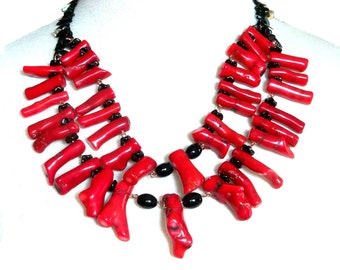 Massive Red Coral Necklace Multi Strand Black Copper Rhinestones