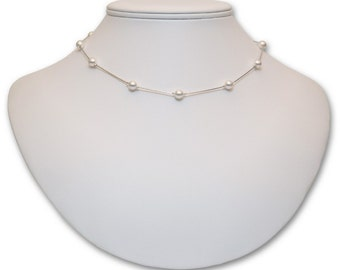 6mm Pearl Tin Cup Necklace