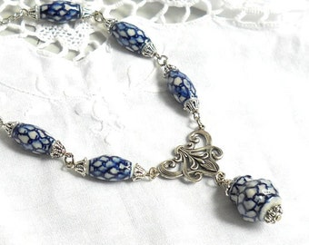 delft blue necklace blue necklace blue and white necklace delft blue style necklace delft blue jewelry