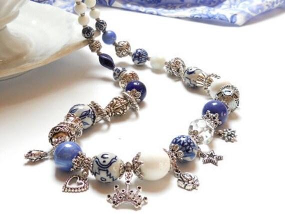 Delft blue necklace delft blue jewelry blue necklace blue and white necklace charm necklace