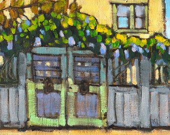Wisteria on the Fence, Mission Hills-  San Diego Painting