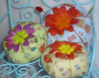 tomato pincushions in beautiful sewing prints available in pale green, light blue or soft buttery yellow