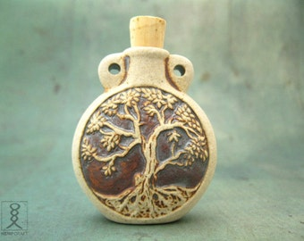 Ceramic Tree of Life Bottle Pendant - High Fired Clay Vessel