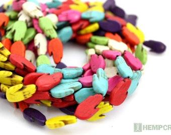 23pc Hamsa Hand Beads, 10x18mm Colorful Stone Howlite Hamsa Beads, Stone Beads