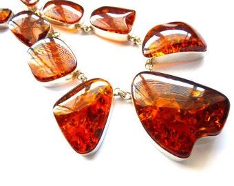 "Baltic Amber Jewelry Choker Cognac Natural Large 19"" 925 Silver 121 gram"
