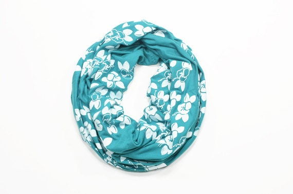 INFINITY SCARF - Screen Printed - White Maui Flowers on Teal