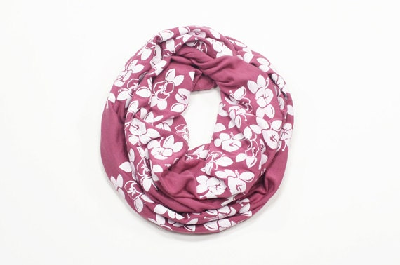 INFINITY SCARF - Screen Printed - White Maui Flowers on Mauve