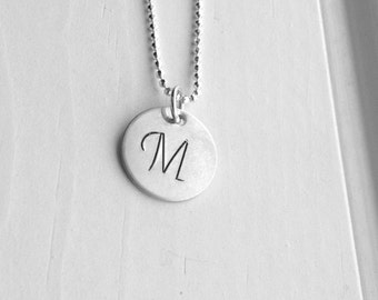 Initial Necklace, Sterling Silver Jewelry, Letter M Pendant, Charm Necklace, Monogram, All Letters, Initial Pendant, M, Large Initial Charm