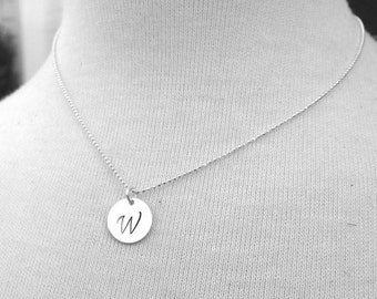 Large Initial Necklace, Sterling Silver Initial Necklace, Letter W Necklace, Letter W Pendant, Large Letter W Monogram Necklace
