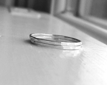 The Super Skinny, Double Stack, Two Sterling Silver Stacking Rings, Two Rings, Two Ring Bands, Sterling Silver Rings, Thin Rings