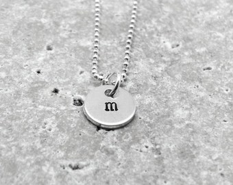 Initial Necklace, Sterling Silver Jewelry, Tiny Letter m Necklace, Initial Pendant, Personalized Jewelry, All Letters Available, Initials, m