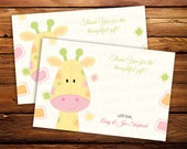 20 Giraffe Thank you Notes -- Baby Shower thank you cards -- Birthday thank you notes - ANY COLOR