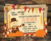 Fall Carnival Invitation, Pumpkin Patch Invitation, Fall Festival, Halloween Birthday Invitation -- Printable file