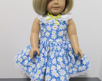 American Girl or 18 Inch Doll Clothes / Blue and White Springtime Daisies Sleeveless Party Dress
