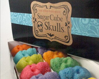 SUGAR SKULLS Dia De Los Muertos 2 BOXES Colored Sugar Cubes - 72 Mini Sugar Skulls