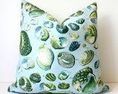 """blue green yellow Nautical Shell Decorative Designer Pillow Cover 18"""" Accent Cushion natural curiosities beachy cottage modern grey"""