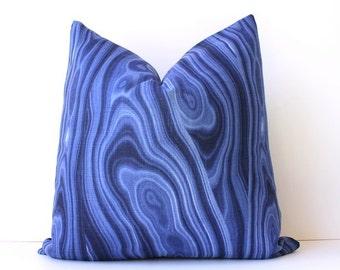 Ultramarine Malachite modern Designer Pillow Cover 18 Accent Cushion dark Navy Blue indigo Monaco earthy rocks gemstones organic