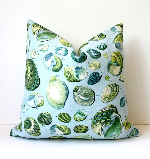 "blue green yellow Nautical Shell Decorative Designer Pillow Cover 18"" Accent Cushion natural curiosities beachy cottage modern grey"