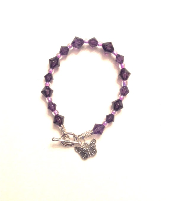 fibro bracelet purple fibromyalgia awareness bracelet with butterfly charm 5519