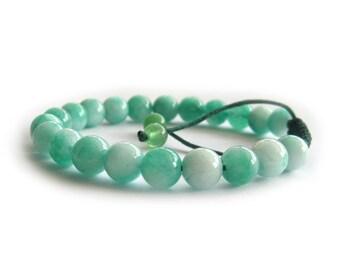 8mm Mint Green Round Stone Beads Tibet Buddhist Wrist Mala Bracelet For Meditation  T3059
